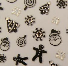 Nail Art 3D Sticker Silver Crystal Black Christmas Santa Snowflake Tree 79pcs