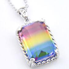 Romantic Rectangle Rainbow Mystic Fire Topaz Gemstone Silver Necklace Pendants