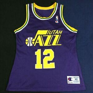 Vintage Utah Jazz Basketball NBA John Stockton #12 Champion Jersey Size40