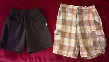 2 pair Boys Shorts black Classroom Uniform pull on Plaid Brown Otb size 5
