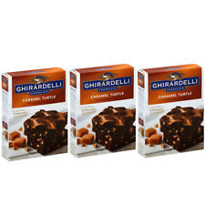 Ghirardelli Caramel Turtle Premium Brownie Mix Walnuts 18.5oz x3 Lot Boxes Packs