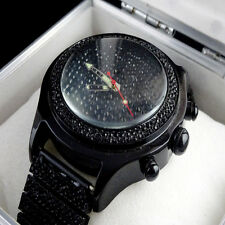 MENS ICY BLACK GOLD FINISH LAB DIAMOND BLING MASTER CLUSTER BAND CUSTOM WATCH