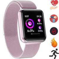 Smartwatch P68 Rose Magnetverschluss IPS Display Apple Samsung LG Huawei Fitness