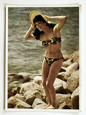 Vintage postcard girl in a swimsuit pin-up Germany on the beach 1957