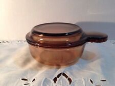 Corning Ware Pyrex Vision V-150-B Amber Glass Grab It Bowl With Glass Lid EUC!