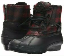SPERRY Women's Size 9 'SALTWATER WEDGE TIDE' Black/Red Plaid WOOL RAIN BOOTS NEW