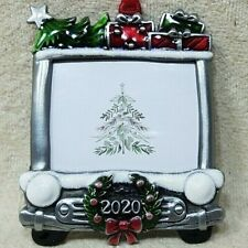 CHRISTMAS TREE ORNAMENT PHOTO PICTURE FRAME HANGER NEW 2020 SANTA TRUCK & GIFTS