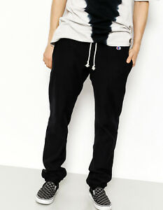 Champion Elastic Cuff Pants Mens New Black Men Cotton 210969-NBK