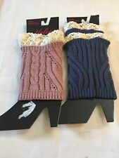 2 pair Simply Yelete NWT Lace Topped Knee Boot Socks NEW Navy Crocheted Mauve