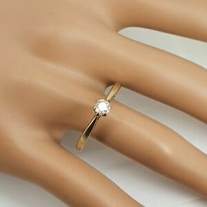Sweet 9ct Gold Antique Vintage Diamond Solitaire Ring Size U. Nice1