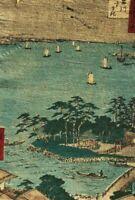 Estampe Japonaise Ancienne, Paysage, Bateau, Arbre v. 1880