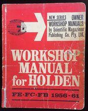 Holden FE FC FB 1956 - 1961 Owner Workshop Manual Scientific Publications 1965