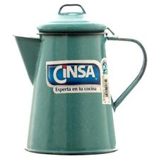 Vintage Enamel Finish Coffee Maker Pot Antibacterial Technology Turquoise 40 Oz