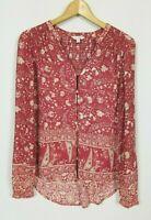 Lucky Brand Women's Small Long Sleeve Semi Sheer Boho Peasant Top