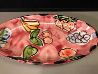 """Stoviglierie Italy Sm 11"""" Oval Serving Bowl Fruit Strawberries Grapes Cherries"""