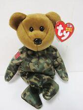 """Ty Beanie Baby - """"Hero"""" CAMO Military - USO Bear PRISTINE Brand New w/Mint Tags"""