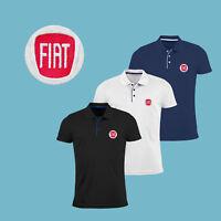 Uomo FIAT Maglietta Polo Slim Fit RICAMATO Auto Logo Camicia T Shirt Tee Aderent