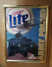 Rare Miller Lite Army Proud Beer Sign Mirror Chopper Helicopter Humvee Man Cave