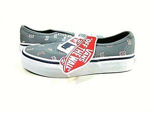 Vans Kid's Boston Red Sox Gray Skateboarding Shoes,US Children's Size 12