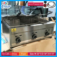 Deep Fryer Propane 3 Burner Commercial Use Counter Top Fry Food NEW  3 basket