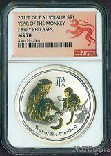 2016 Australia GILDED Silver Lunar Year of the Monkey NGC MS 70 1oz Coin ER GILT