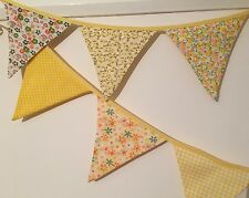 Bunting💛- Yellow Floral Gingham Polka Shabby Chic Decor Party Pretty Fabric 9ft