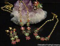 18k Gold Flower Diamond Ruby Emerald Ring Bracelet Earrings Necklace Parure Set