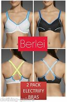 NEW 2 PACK BERLEI ELECTRIFY BRA UNDERWIRE SPORTS WOMENS LADIES GYM BRAS
