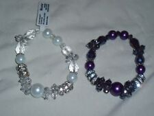 Set Lot Of 2 Stretch Nicole Arm Bracelets Pink Purple White Faux Pearl 1 NWT *
