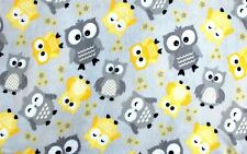 BTY*BABY OWLS GREY & YELLOW HANG LIKE OWLS ON GREY FLEECE FABRIC 1 YD 60x36""