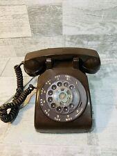 WORKS Vintage CHOCOLATE BROWN Rotary Dial Phone ITT Desk Landline Cord Telephone