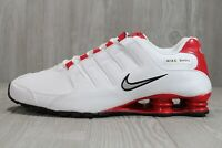 48 New Mens Nike Shox White Red Leather Running Shoes NZ 378341-110 8.5 - 12