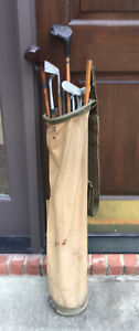 Antique hickory wood shaft Golf Clubs and Canvas Perfect Balance Bag