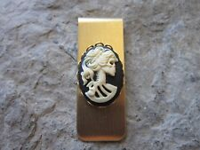 SKELETON WOMAN, SKULL CAMEO GOLD PLATED BRASS MONEY CLIP - FATHER'S DAY
