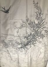 Vintage Paris Map Theme Shower Curtain Embroidered Bird Flowers Beige Black