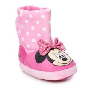 Disney's Minnie Mouse Toddler Girls' Size SMALL (5-6) Slipper Boots NWOB