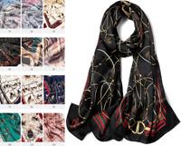 100% Silk Satin Women Scarf neckerchief Shawl Wrap ladies black red S287-004