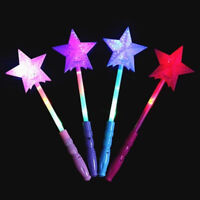 LED Flashing Star Sticks Girls Princess Light Up Fairy Wands Glow Party 35cm