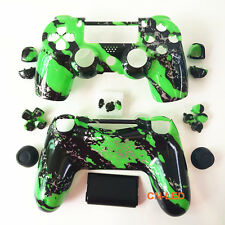 Hydro Dipped Green Splatter Housing Shell case button mod kit for PS4 Controller