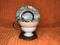 Vintage Royal Sealy Maroon, Gold, White & Pink Swirl Floral Cup & Saucer