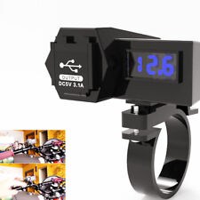 12V-24V Motorcycle GPS Waterproof USB Phone Power Socket + LED Voltmeter (Blue)
