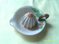 VINTAGE CERAMIC REAMER WITH LEAVES, FLOWER, HANDLE & DIMPLED SURFACE MADE JAPAN