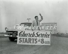 "1956 Drive-In Movie Theater Preacher Photo NEGATIVES (4) 4""×5"" Des Moines IOWA"