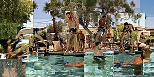 """TERRY HASTINGS """"Cadu Dives In"""" Fine Art Photo Collage 16""""x32"""" on canvas"""