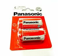 Pack Of 2 PANASONIC 'C' Size R14 BATTERIES Zinc Carbon 1.5v Battery Expiry 02/19