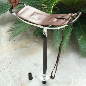 BROWN STRONG LEATHER SHOOTING STICK RACING FOLDING SEAT SHOWS CHAIR STOOL (F)
