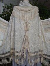 châle ancien crinoline Canton -  antique embroidered silk shawl - manton de seda