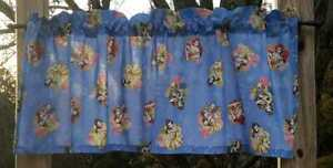 Handcrafted Valance Sewn From Beauty and The Beast Movie Storybook Blue Fabric