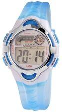 Digital-Armbanduhr Silber Blau + Box Quarz Silikon Damenuhr D-1400001004350