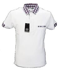 Blanc Classique Polos Mod Chiffon Carreaux Col